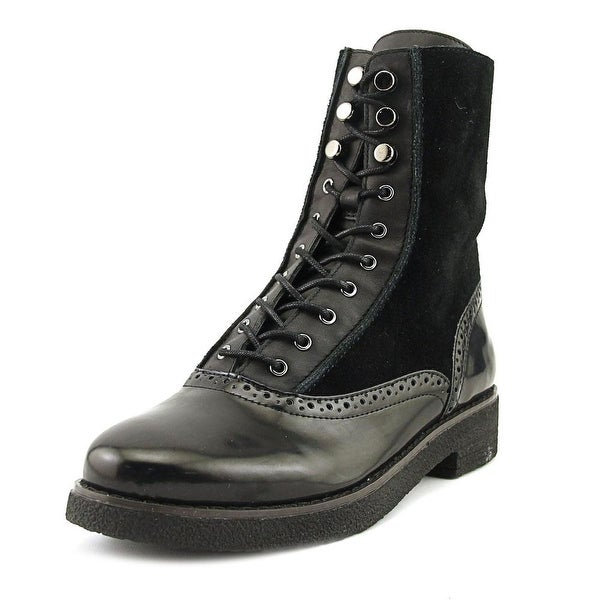 French Connection Vanja Women Round Toe Synthetic Black Combat Boot