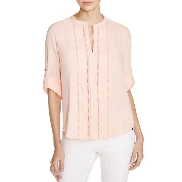 Calvin Klein Womens Blouse Embroidered V-Neck