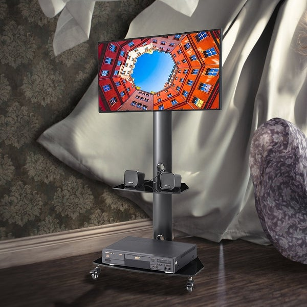 Height and Angle Adjustable TV Stand with Lockable Wheels. Opens flyout.