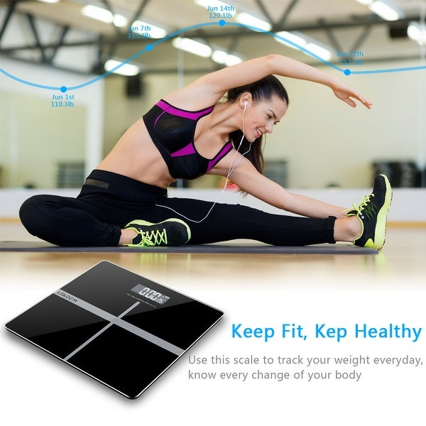 """LEADZM 180Kg/50g 11"""" Personal Weighing Bathroom Scale Black&Silver. Opens flyout."""