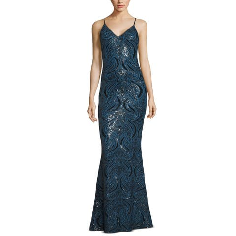 Xscape Women's Dress Deep Gown Sequined Mesh V-Neck