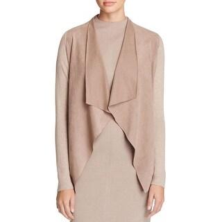 T Tahari Womens Milly Cardigan Sweater Mixed Media Perforated