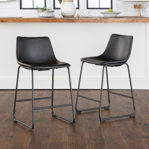 Carbon Loft Prusiner Black Faux Leather Counter Stools (Set of 2)