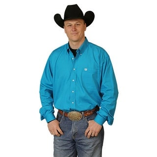 Cinch Western Shirt Mens L/S Button Down Solid Teal MTW1103800