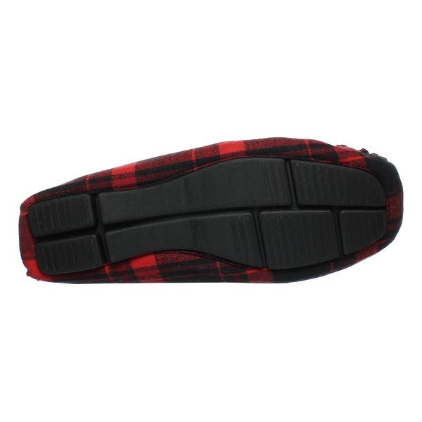 22fd03a0aa3 Shop Steve Madden Mens Red Plaid Moccasin Slippers Size 8 - On Sale ...