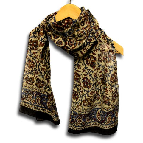 Large Cotton Scarfs for Women Lightweight Soft Sheer Neck, Head, Scarf Block Print Paisley Summer Floral Scarf Blue Green Red