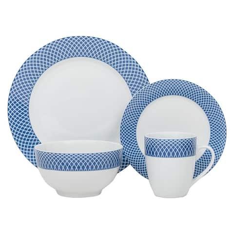 "16-piece Porcelain Blue Diamond Dinnerware Set (Service for 4) - 10'5"" x 0'5"""