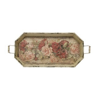 """28"""" Vintage Rose Distressed Finish Cream Floral Pattern Decorative Tray"""