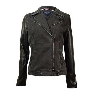 Tommy Hilfiger Women's Pleather-Sleeves Denim Moto Jacket - grey as swatch - s