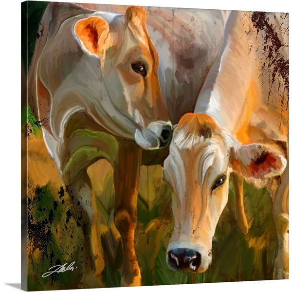 """Two Cows"" Canvas Wall Art"