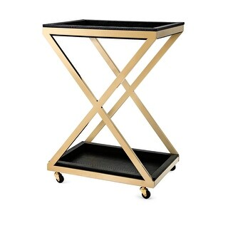 "30"" Black and Gold Colored Contemporary Patterned Bar Cart with X Shaped Stand"