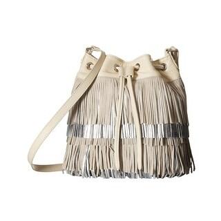 Sam Edelman Fifi Womens Fringe Mini Drawstring Bucket Modern Ivory