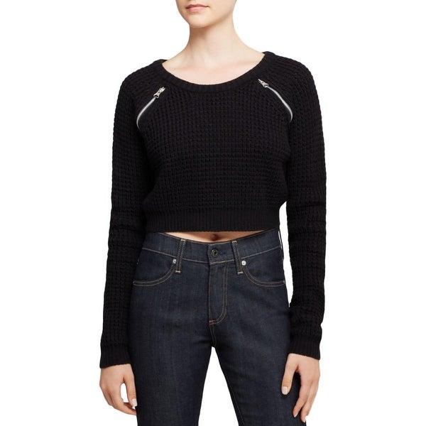 Aqua Womens Crop Sweater Knit Long Sleeve - S