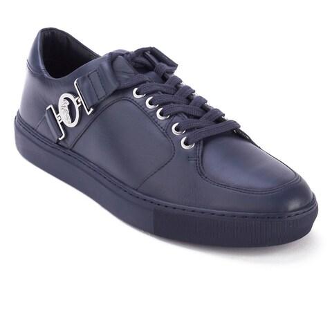 Versace Collection Men's Leather Medusa Logo Low Top Sneaker Shoes Navy Blue