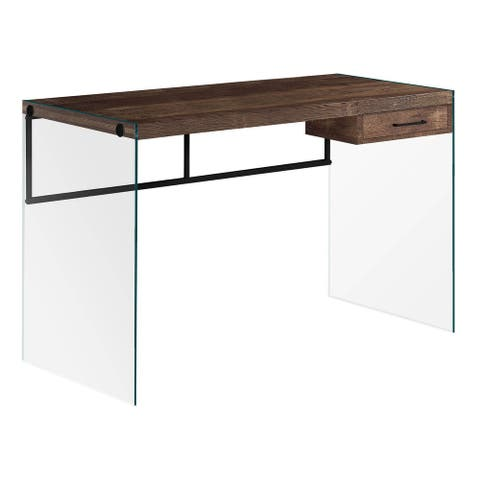 """Offex 48""""L Contemporary Computer Desk with Tempered Glass Legs - Brown"""