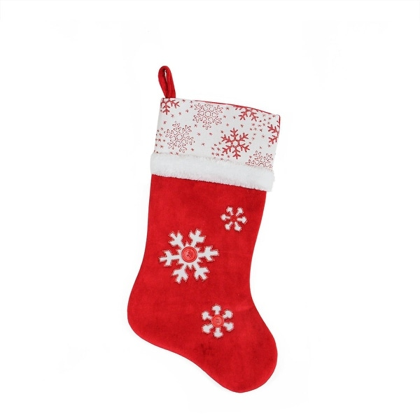 "20.5"" Country Cabin Red and White Button Snowflake Christmas Stocking with Glitter Accented Cuff"