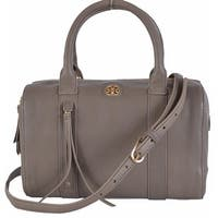 "Tory Burch Brody Small Porcini Grey Leather Satchel Purse Handbag - 10.1"" x 6.3"" x 4.9"""
