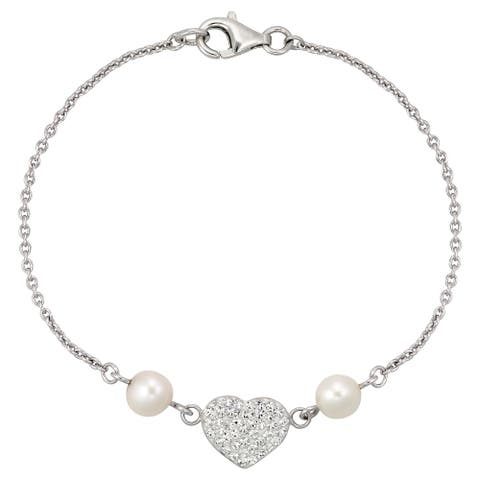 Sterling Silver Chain Bracelet With Fw Pearl And Crystal Heart