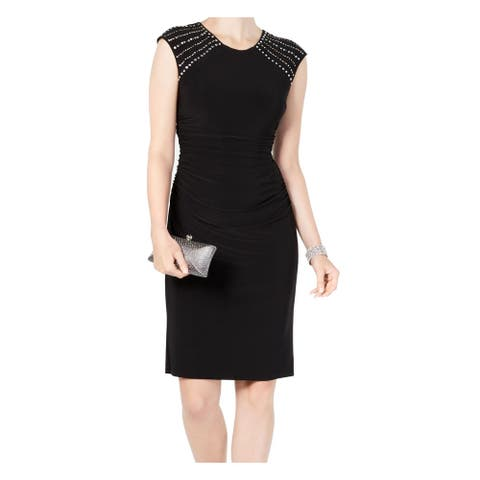 Jessica Howard Womens Sheath Dress Black Size 8 Embellished-Shoulders