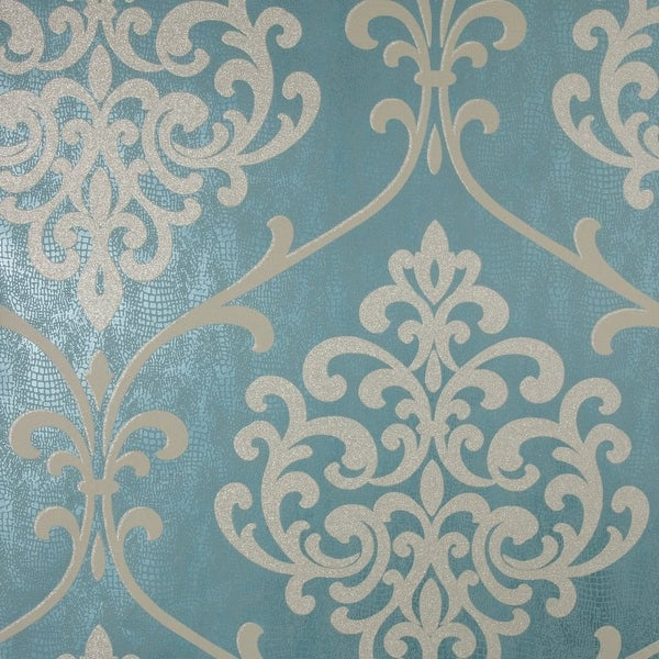 Brewster 2542-20715 Ambrosia Teal Glitter Damask Wallpaper - N/A