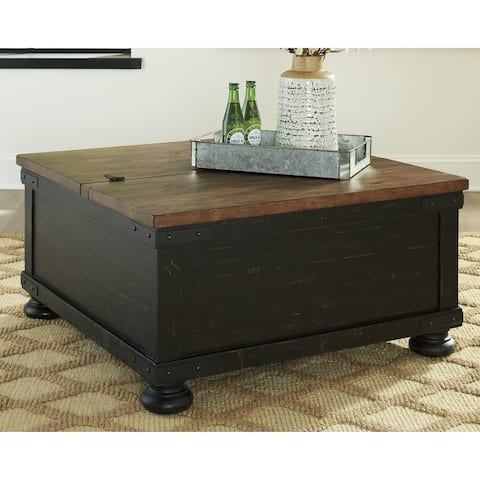 Valebeck Black/Brown Casual Square Lift Top Cocktail Table