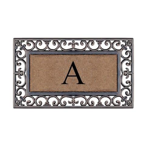 Rubber Coir Classic Paisley Border Bronze Monogrammed Doormat