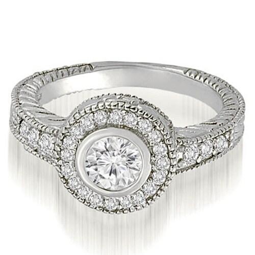 0.75 cttw. 14K White Gold Antique Milgrain halo Engagement Ring