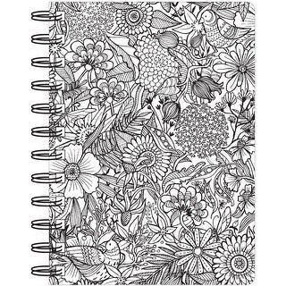 "Hall Pass Adult Coloring Spiral Bound Notebook 6""X8.25""-Floral"