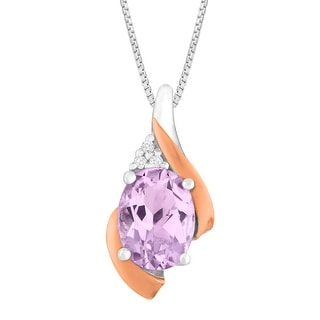1 ct Natural Pink Amethyst Pendant with Diamonds in Sterling Silver & 10K Rose Gold