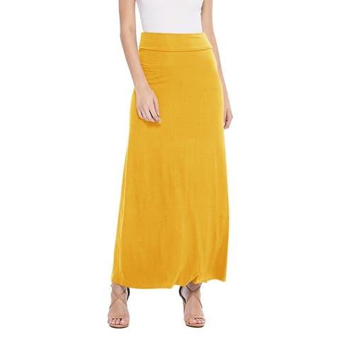 Women's Solid Casual High Waist Long Maxi Skirt