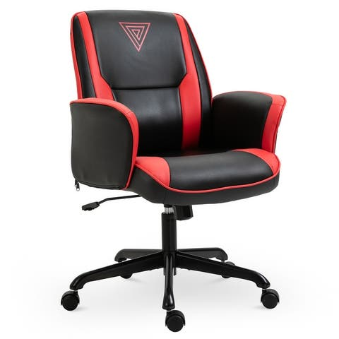 Vinsetto Office Chair Breathable Faux Leather Adjustable Height with Wheels, Armrest, Mid Back Home Racing Gaming Style
