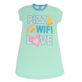 "Sweet n Sassy Girls Aqua ""Pizza Wifi Love"" Fun Print Nightgown"