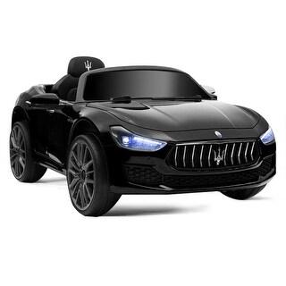 Gymax 12V Maserati Licensed Kids Ride on Car w/ RC Remote Control Led Lights MP3 Black