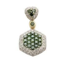 Brand New 0.98 Carat Round Brilliant Cut Real Color Diamond With Diamond Cluster Pendant