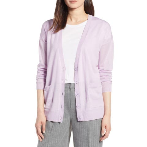 Halogen Women's Sweater Purple Size XS Button Dual Pocket Cardigan Wool