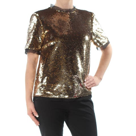 RACHEL ROY Womens Gold Sequined Sheer Short Sleeve Turtle Neck Tunic Party Top Size: 4