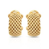 Mcs Jewelry Inc STERLING SILVER GOLD PLATED YELLOW MESH HOOP EARRINGS