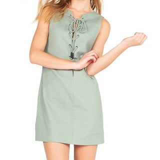 Kendall + Kylie NEW Green Womens Size Large L Lace-Up Tunic Dress