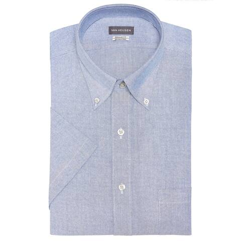 Van Heusen Mens Wrinkle Free Oxford Button Up Dress Shirt, blue, 14.5
