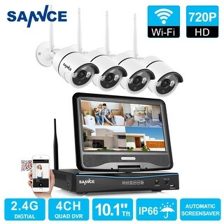 SANNCE 4CH 720P CCTV Security Cameras System Wireless Indoor Outdoor with Monitor
