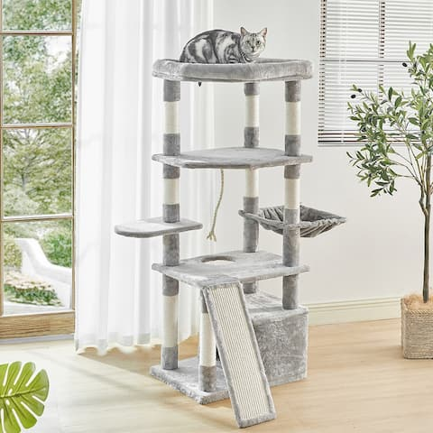 55.9In Cat Tree Multi-Level Cat Tower w/Sisal-Covered Scratching Posts