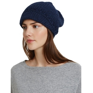 Aqua Ladies Navy Blue Knit Visor Cap One Size Made In Italy