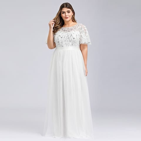 Ever-Pretty Womens Plus Size Short Sleeve Formal Evening Dresses 09042