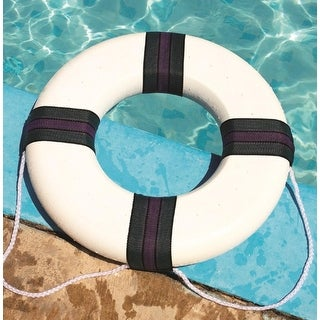 "18"" White, Green and Purple Swimming Pool Summer Safety Ring Buoy"