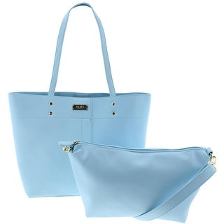 BCBG Paris Womens 2PC Faux Leather Tote Handbag - Baby Blue - Large