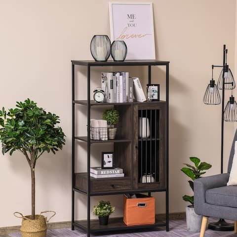 HOMCOM 4-Tier Industrial Style Bookcase with Open Storage Display Rack, Drawer, Cabinet for Home, Office, and Study, Dark Brown