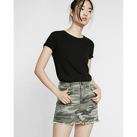 Express Mid Rise Twill Mini Skirt, Camouflage, 8