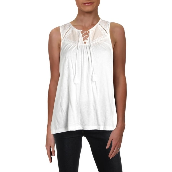 Lucky Brand Womens Tank Top Sleeveless Embroidered - S