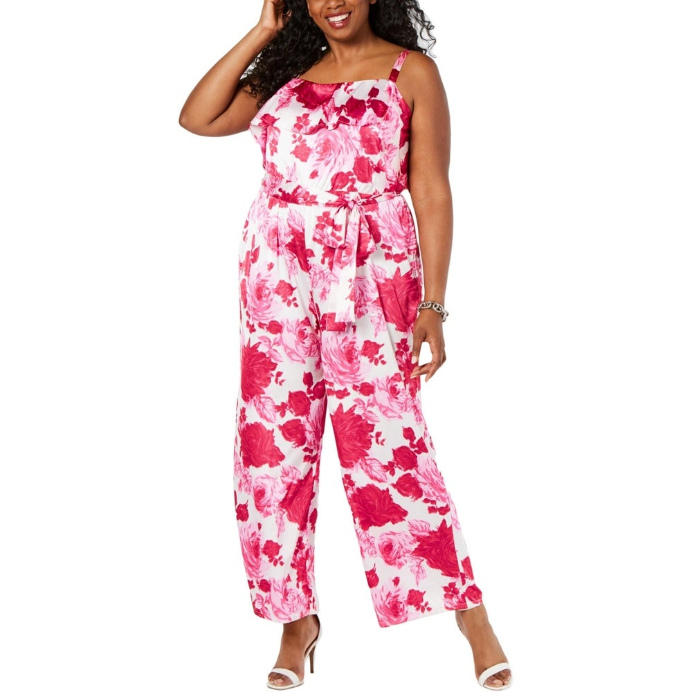 Betsey Johnson Womens Plus Jumpsuit Silk Sleeveless - Pink Petal