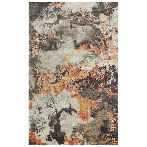 Alora Decor Alure Collection Orange Abstract Rug